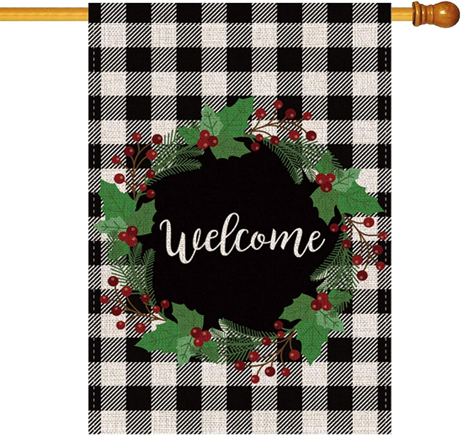 Pecsu Christmas Berry Wreath Welcome House Flag Vertical Double Sided, Home Farmhouse Outdoor Flag, Winter Holiday Christmas Burlap Yard Outdoor Garden Decoration 28 x 40 Inch