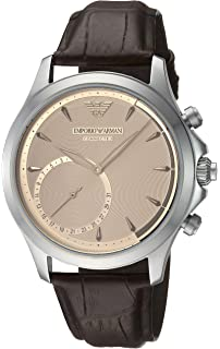 Emporio Armani Mens Quartz Stainless Steel and Leather Smart Watch, Color Brown (Model: