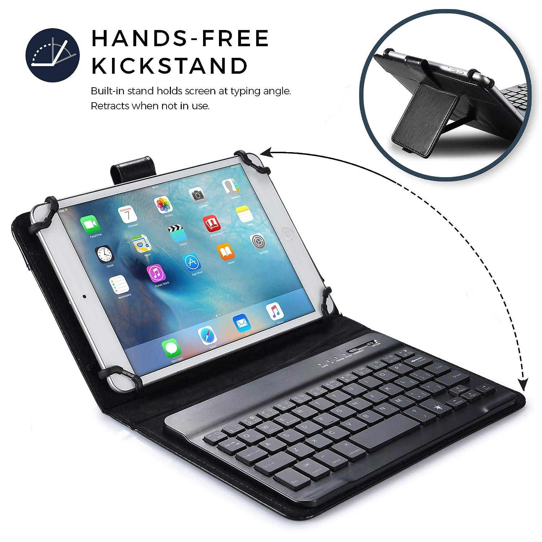 Standfu/ß Mappe 7 Farben Ros/égold 7-8 Zoll Tablet H/ülle mit Tastatur Cooper Backlight Executive 2-in-1 kabellose Bluetooth-Tastatur mit LED-Hintergrundbeleuchtung Reiseetui Leder