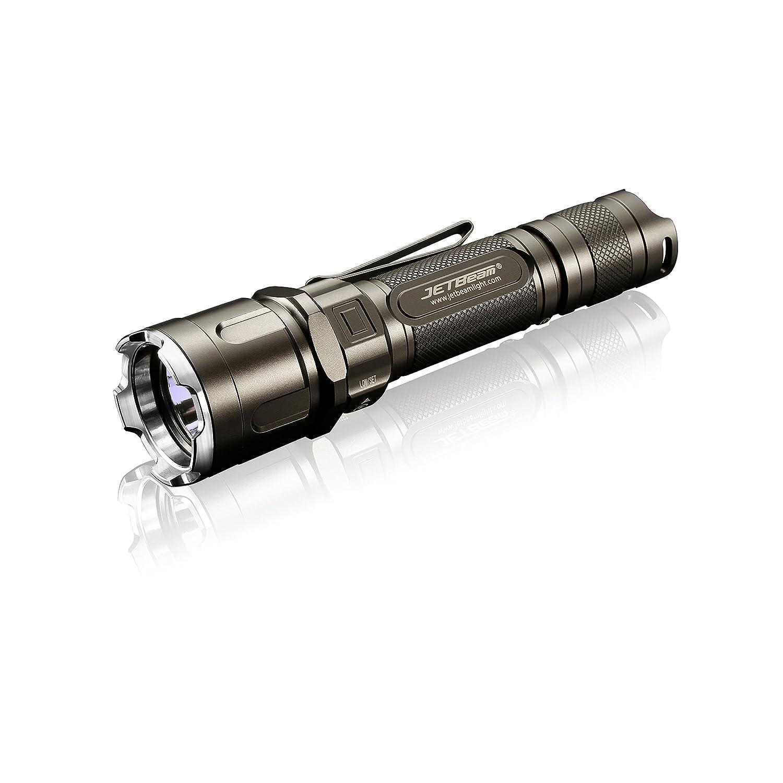 JetBeam LED-Taschenlampe IIIM-PRO Tactical LED-Taschenlampe JetBeam Kit, kompatibel mit  1x18650 / 2xRCR123A, Inkl. L'LYSCOLORS 18650 Akku und mini USB-Ladegerät de0506