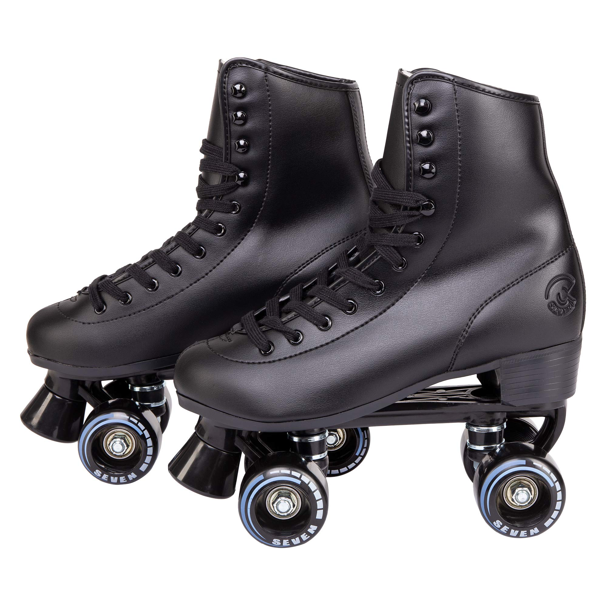 C SEVEN Classic Roller Skates with Faux Leather (Black/Youth 4 / Women's 5)