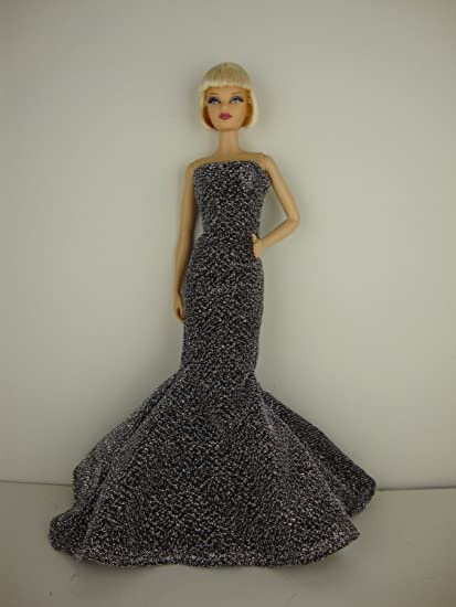 Daring Gold Sequined Fitted Gown with a Slit on One Side Made to Fit Barbie Doll