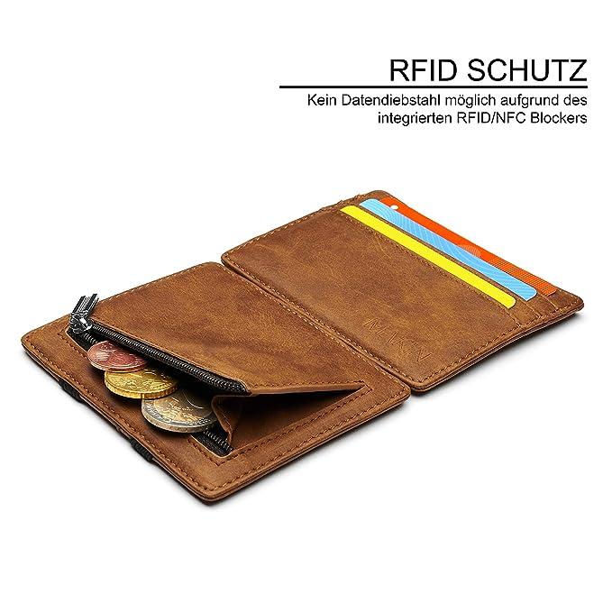 b5ddc7c0e7ca1 Design Magic Wallet Geldbörse mit Münzfach und RFID NFC Schutz – Premium  Portemonnaie mit Magic-Flip Funktion – Geldklammer mit Kleingeldfach –  Kleiner ...