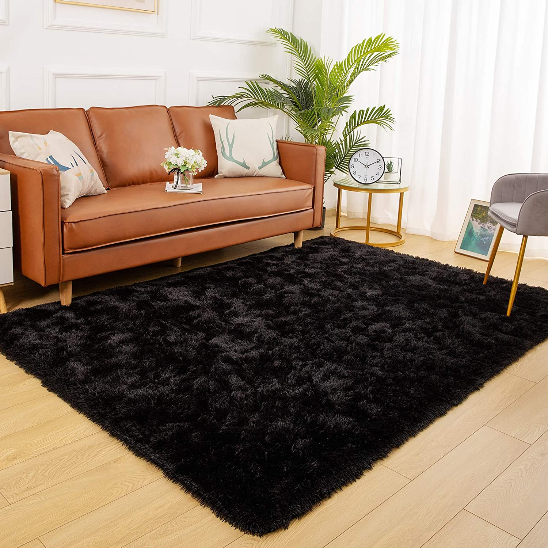 YJ.GWL Soft Shaggy Area Rugs for Bedroom Fluffy Living Room Rugs Anti-Skid Nursery Girls Carpets Kids Home Decor Rugs 3 x 5 Feet Black