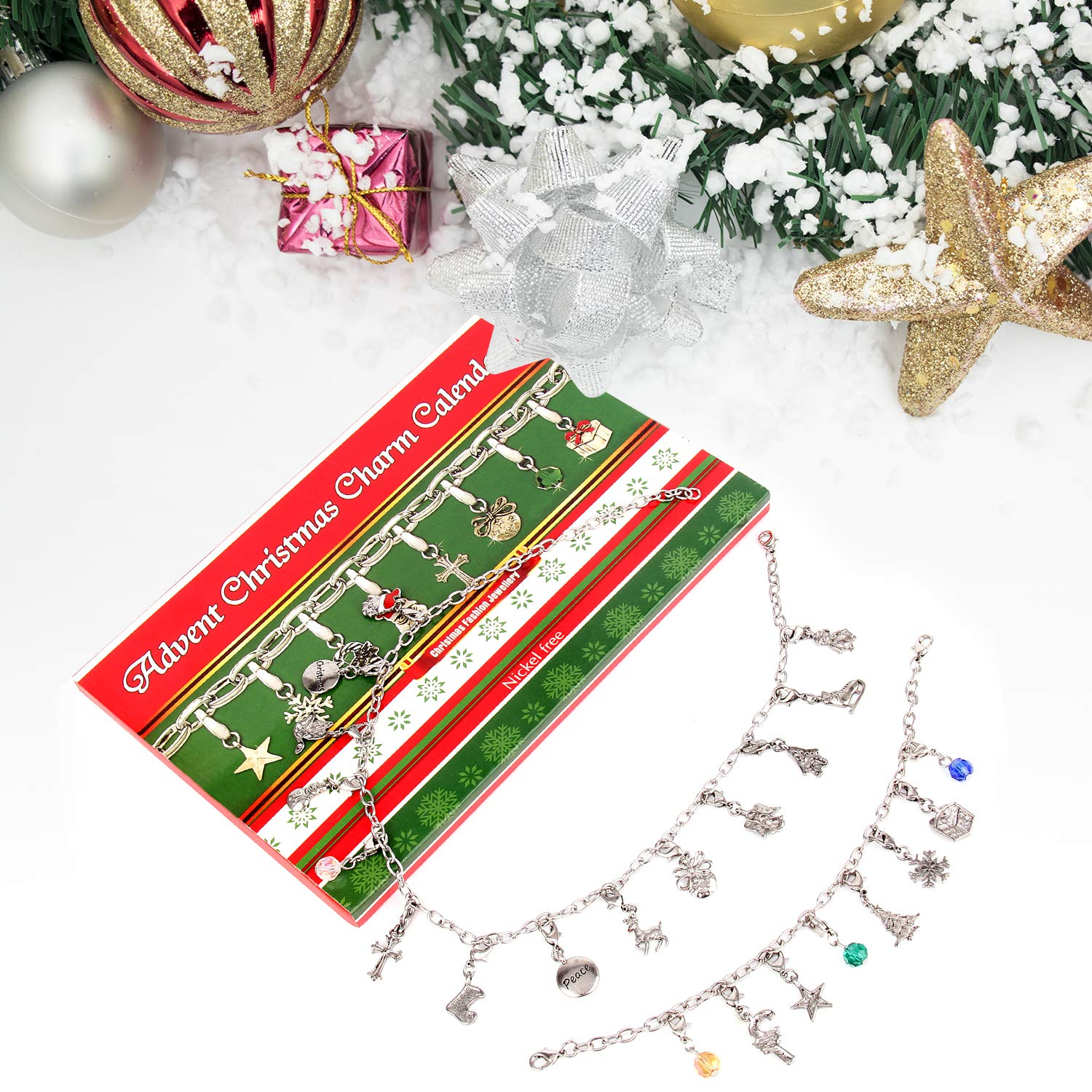 Zhuofu Advent Calendar DIY Bracelet Necklace set with 22 Charms
