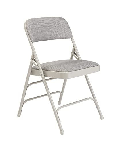 National Public Seating 2302 Steel Frame Upholstered Premium Fabric Seat and Back Folding Chair with Triple Brace, 480 lbs Capacity, Graystone Gray Carton of 4