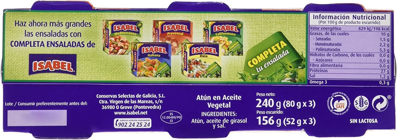 Isabel - Atún en aceite vegetal 240 gr - Pack de 5 (Total ...