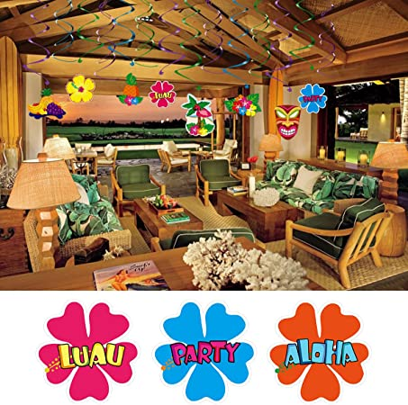 Amscan International Hawaiian Lot de d/écoration en Aluminium Motif Tourbillon Multicolore