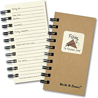 """product image for Journals Unlimited """"Write it Down!"""" Series Guided Journal, Fishing, The Fisherman's Journal, Mini-Size 3""""x5.5"""", with a Kraft Hard Cover, Made of Recycled Materials"""