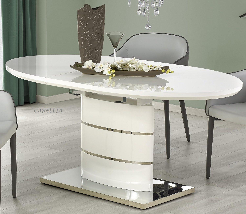Tavolo Da Pranzo Ovale Allungabile L 140 180 Cm X P 90 Cm X H 76 Cm Bianco Amazon It Casa E Cucina