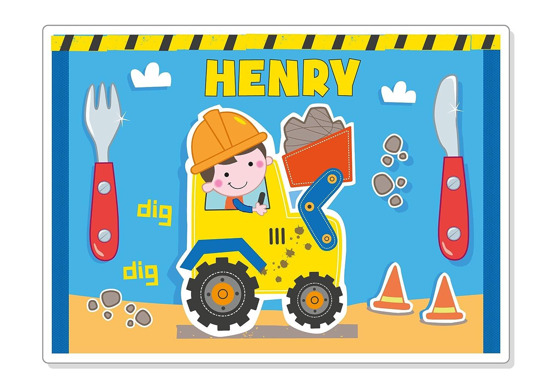 Premium Children's Personalised Placemat Digger Boys Girls Kids Paper Gekko