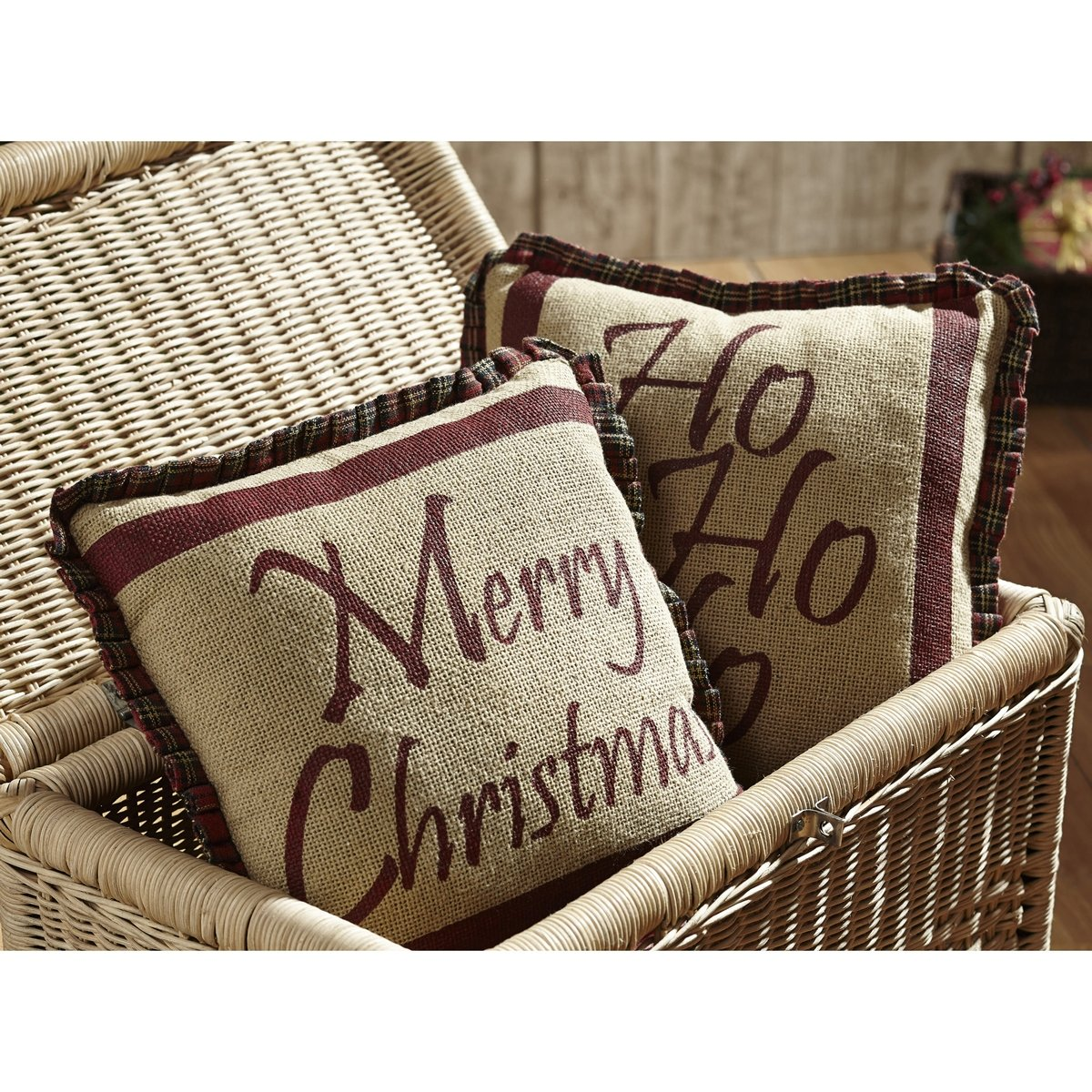 Tartan Holiday Pillow Set of 2 12x12 - Christmas Holiday Decorations