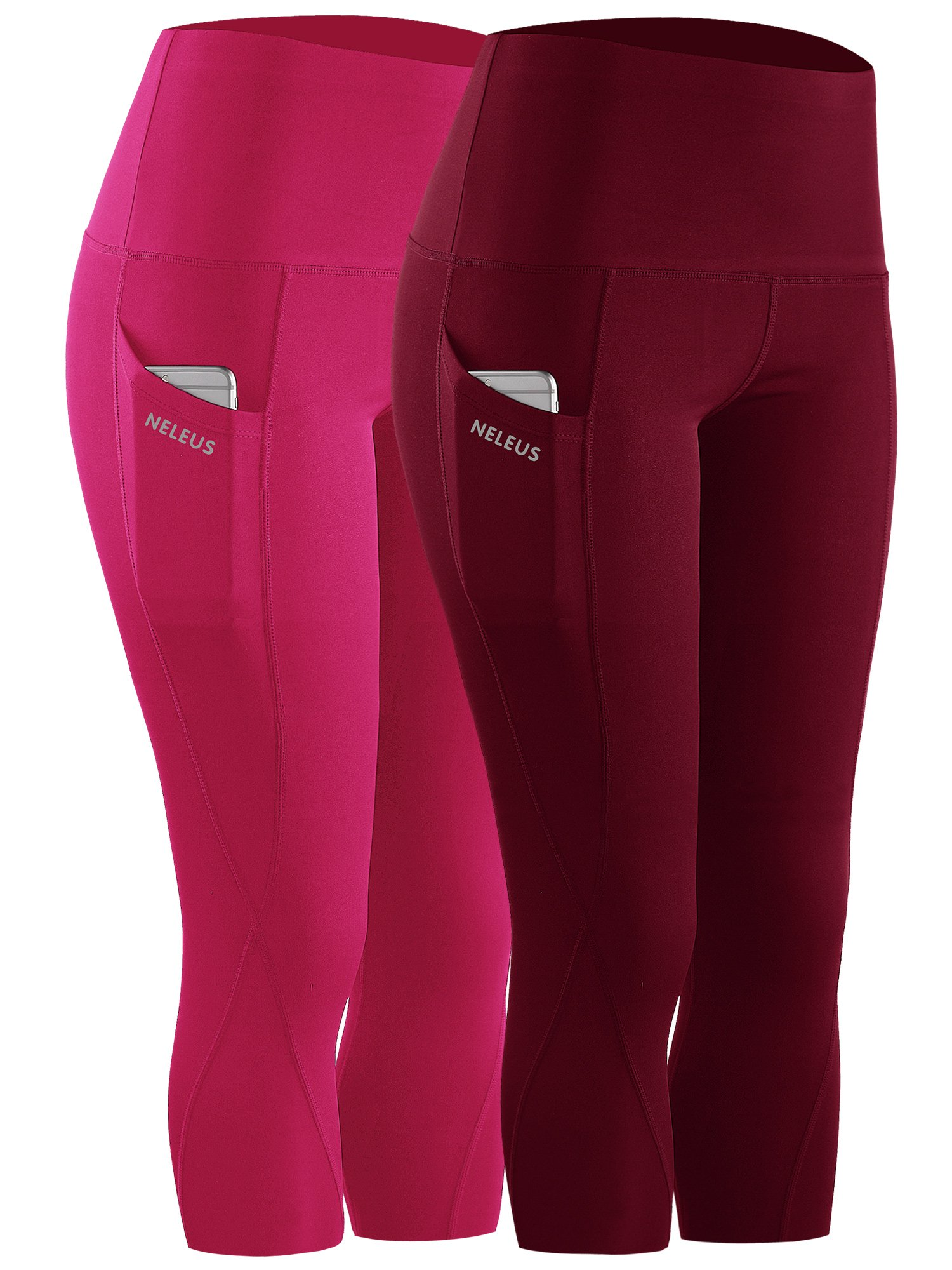 Neleus 2 Pack Tummy Control High Waist Workout Yoga Capri Leggings,9027,Dark red,Rose red,S,EU M