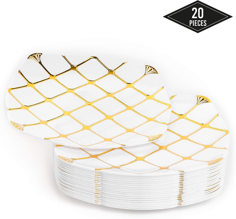 20 Elegantes Platos Pequeños Desechables de Plástico Duro con Patrón Dorado, 18cm| Platos de Postre Resistentes y Reutilizables| Vajilla Desechable Dorado para Catering Bodas Fiestas Navidad.