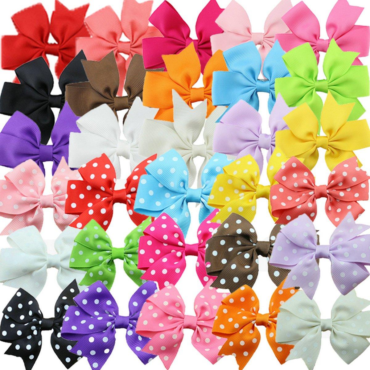 Grosgrain Ribbon Hair Bows Alligator Hair Clips for Baby Girl Toddlers Kids (15 solid color + 15 polka dot hair bows) habibee