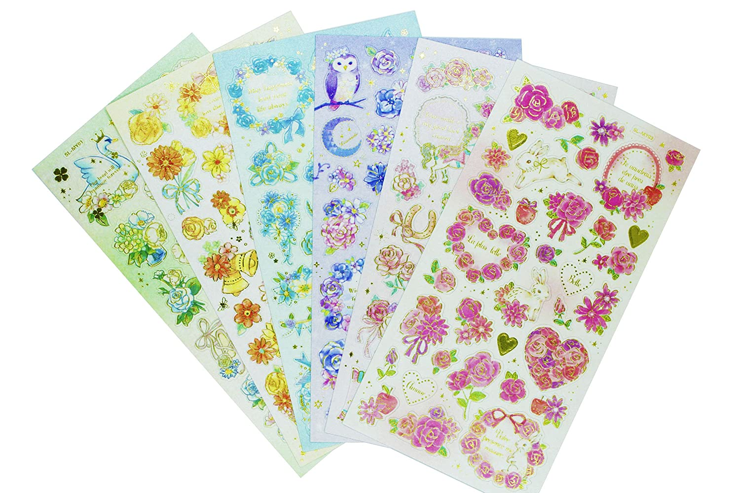Flower Stickers 6 Sheets with Roses, Daisy, Chrysanthemum Self Stick Labels for Scarpbooking Crafts - 160 Pieces HighMount
