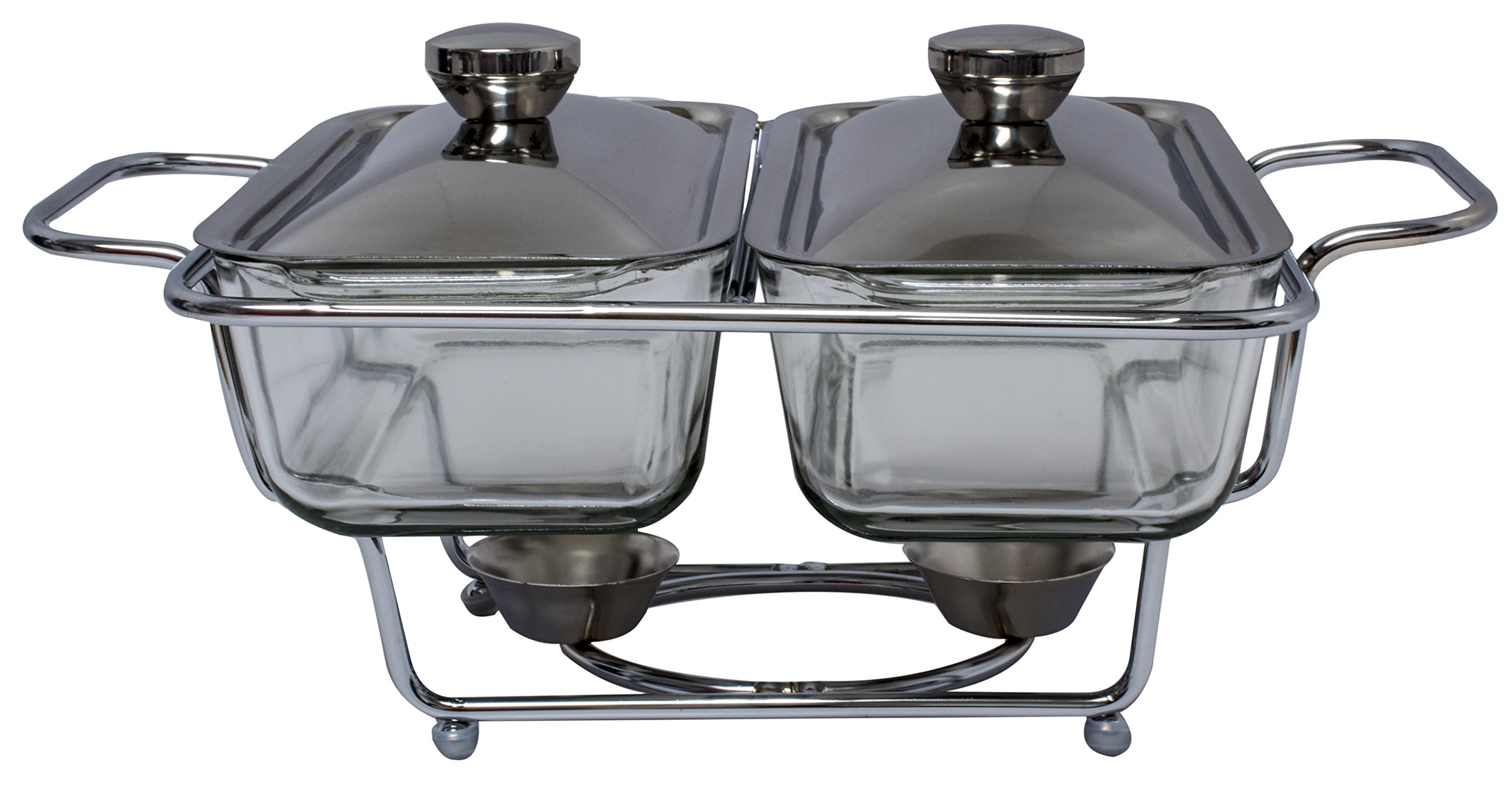 Royal Brands Stainless Double Glass Chafing Dish 1.3 Liter Buffet Serving Chafer Food Pan