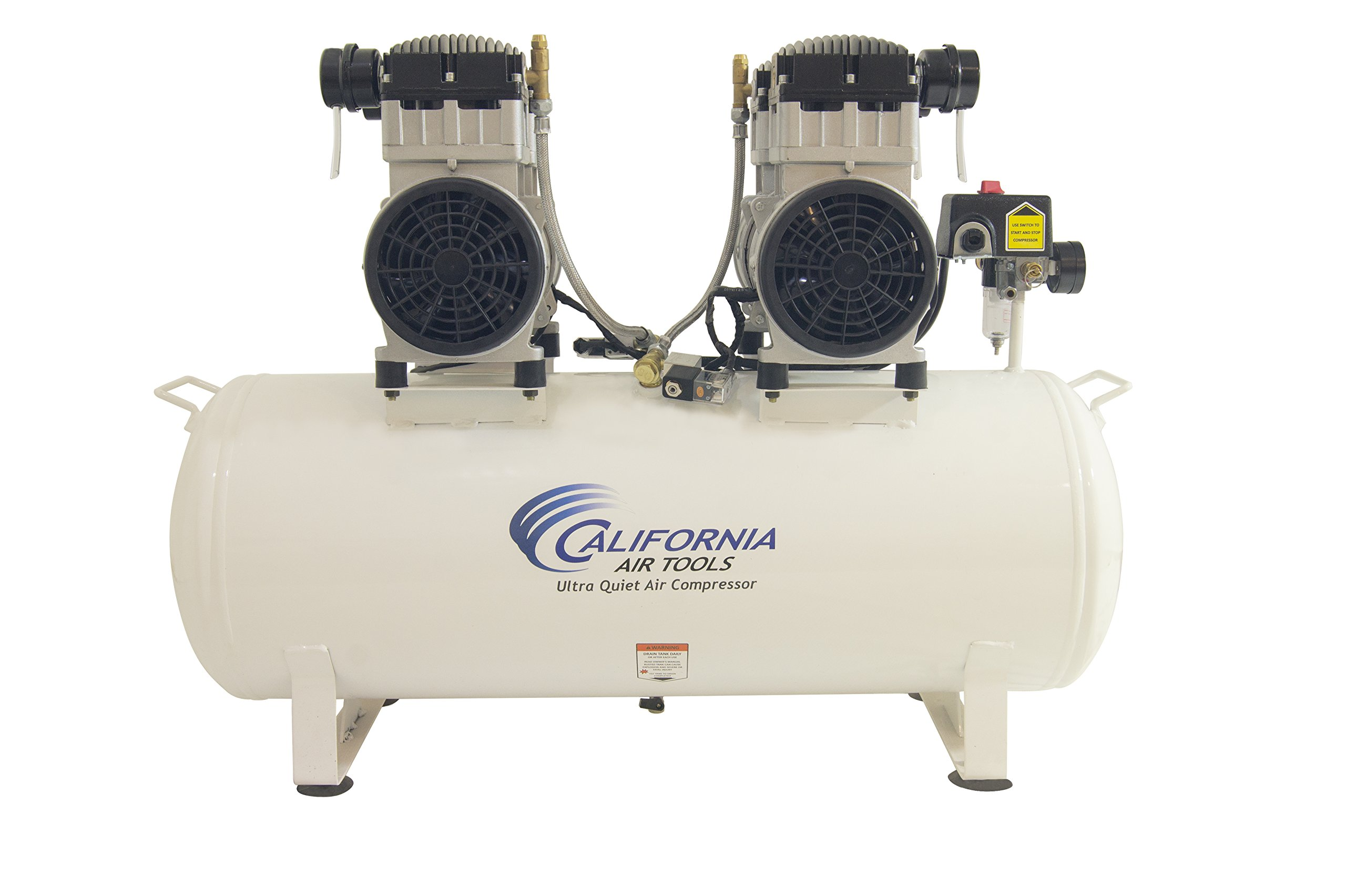 California Air Tools 20040CAD 4 hp 20 gallon Ultra Quiet & Oil-Free Steel Tank Air Compressor Auto Drain, White