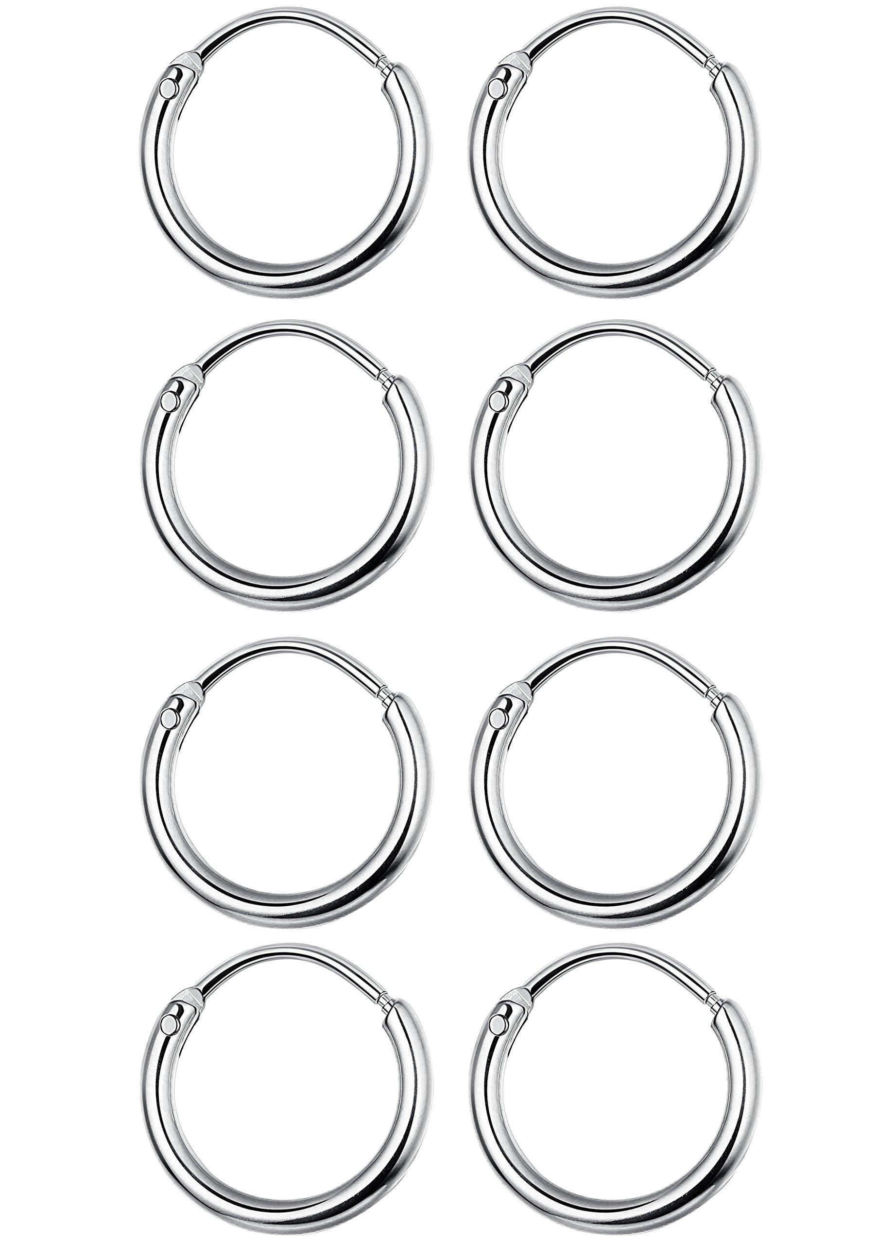 Jstyle 3-4 Pairs Stainless Steel Mens Womens Hoop Earrings Cartilage Lip Piercing Nose Hoop 18G 8mm-14mm (J:Silver-tone 4 Pairs(8mm))