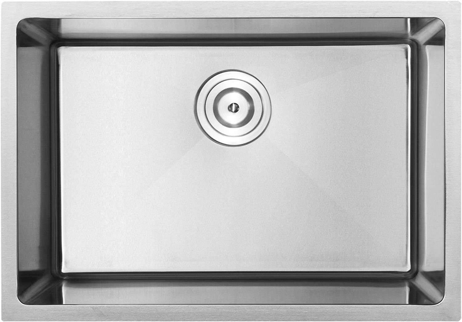 24 PLZ-23-TBASK Undermount 18 Gauge Stainless Steel Square Kitchen Sink with Tight Radius Corners