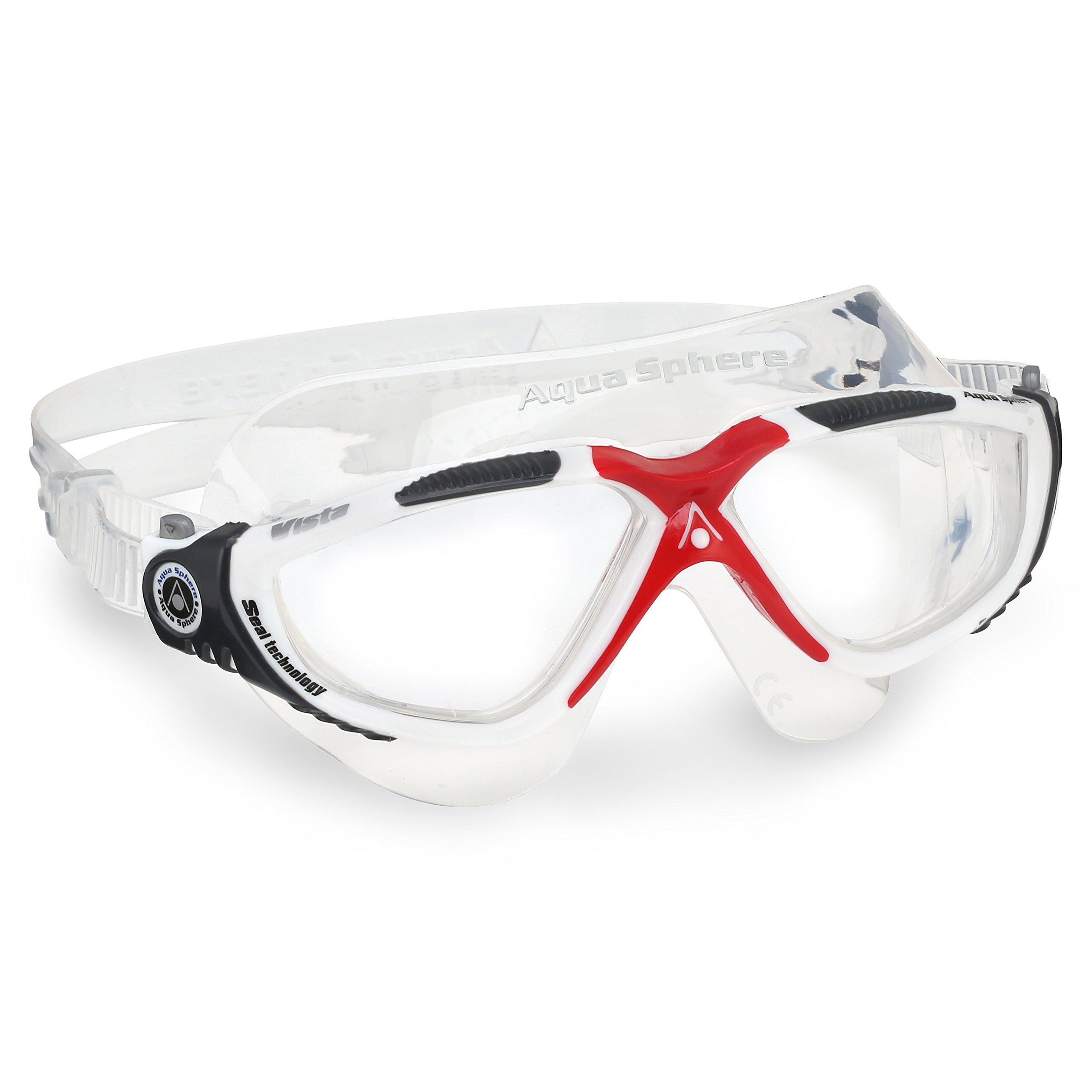 Aqua Sphere Vista Swim Mask Goggles, Clear Lens, White/Red
