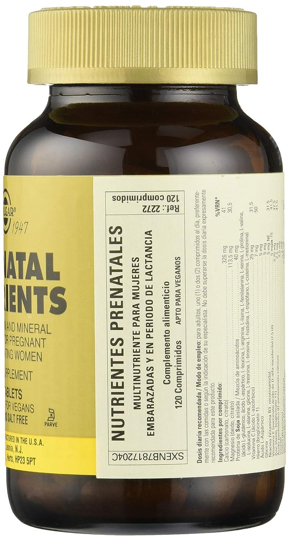 Solgar Nutrientes Prenatales - 120 Tabletas: Amazon.es: Salud y cuidado personal