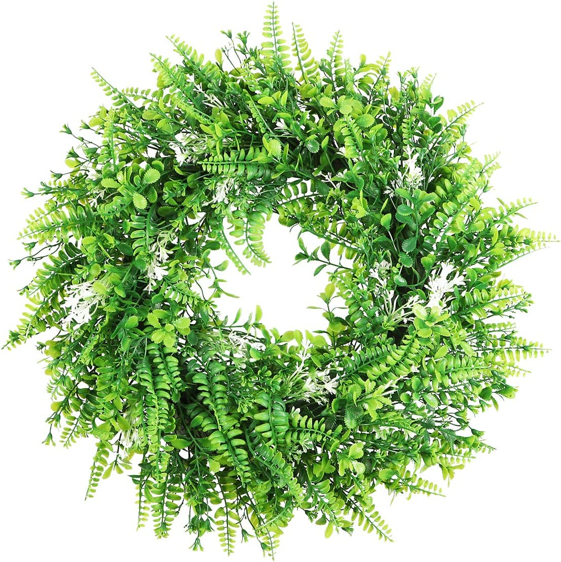 """Capslpad 18"""" Artificial Front Door Wreath Green Leaves with White Flowers Summer Spring Door Wreath Fake Wreath for Home Kitchen Patio Porch Farmhouse Wedding Holidays Decor"""