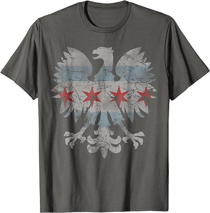 520e83472 Amazon.com: Mens Chicago Flag Polish T-Shirt Poland Shirt Gift 2XL Asphalt:  Clothing