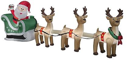 Amazon Com Gemmy 4 5 Airblown Santa Sleigh And Reindeer