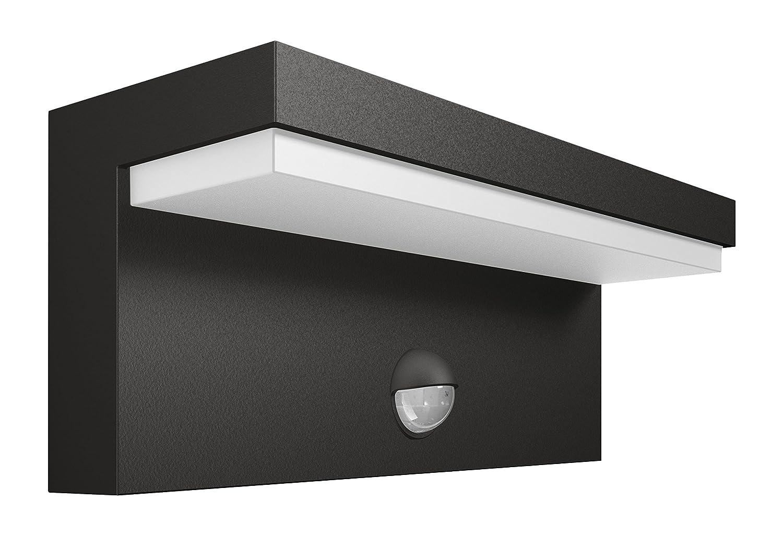 Philips myGarden LED Wandaussenleuchte Bustan, Anthrazit, Bewegungsmelder, Gartenleuchte [Energieklasse A++] 915005378401