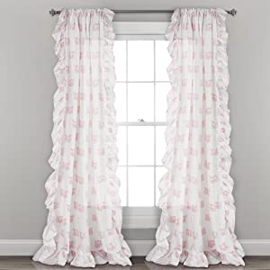 "Lush Decor, Pink Ruffle Fox Window Panel Curtain Set for Living, Dining Room, Bedroom (Pair), 84"" x 40, 84"" x 40"""