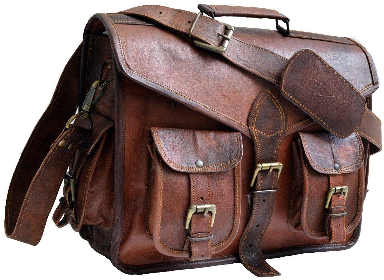 """Vintage Leather Messenger Bag for Men Leather Satchel 15"""" Laptop Briefcase"""