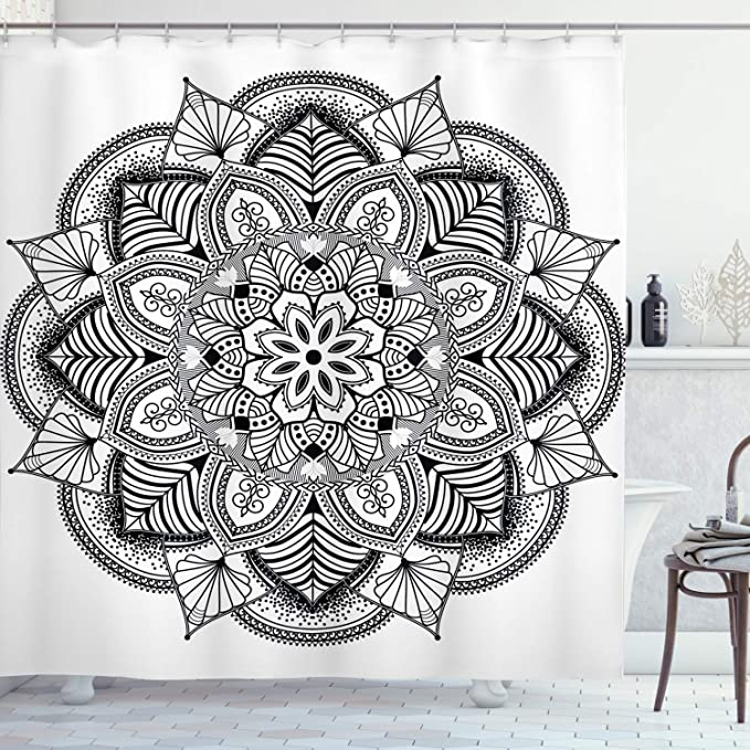 Ambesonne Mandala Shower Curtain Ringed Floral Pattern With Ornate Tile And Lines Boho Circle Art Motif Cloth Fabric Bathroom Decor Set With Hooks 70 Long Charcoal White Home Kitchen Amazon Com