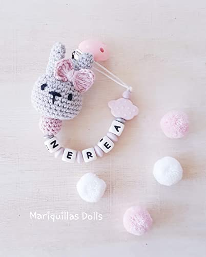 Chupetero crochet personalizado con letras de silicona ...