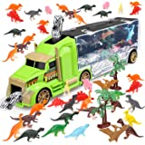STEAM Life Dinosaur Toys Car Transport Truck Carry Case | 30 Pieces Toy Car Carrier with Ramp Plus Minature Toy…
