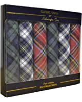 6 Pack Mens Boxed 100% Cotton Tartan Handkerchiefs