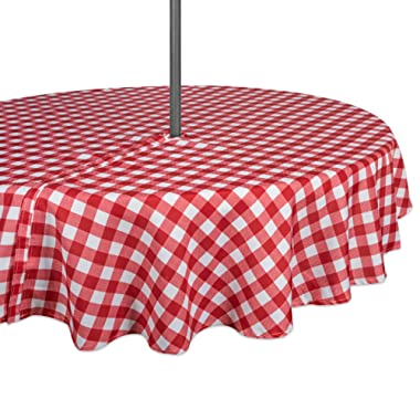 DII 100% Polyester, Spill Proof, Machine Washable, Zipper Tablecloth for Outdoor Use with Umbrella Covered Tables, 60  Round, Red Check, Seats 4 People, w