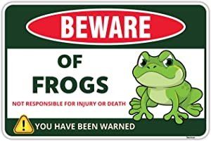 Venicor Beware of Frog Sign - 8 x 12 Inches - Aluminum - Frog Room Decor - Frog Gifts for Frog Lovers - Frog Tank Decorations for Home Garden - Toad Poster Accessories Tapestry Stickers Cake Stuff