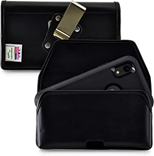 product image for Turtleback Belt Case Designed for iPhone 11 (2019) & XR (2018) Fits with OB Defender, Black Leather Holster Pouch with Heavy Duty Rotating Belt Clip, Horizontal Made in USA