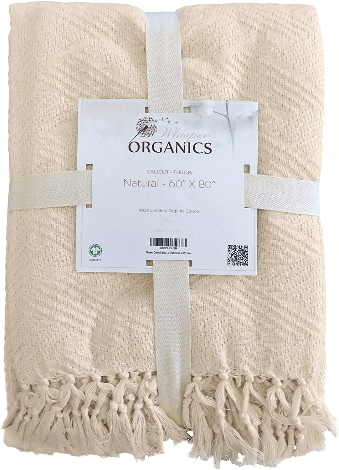 Whisper Organics 100% Organic Cotton Light Blanket - Throw Blanket with Diamond Jacquard Pattern - Breathable Blanket Throw - GOTS Certified Summer Blankets (Natural, 60x80)