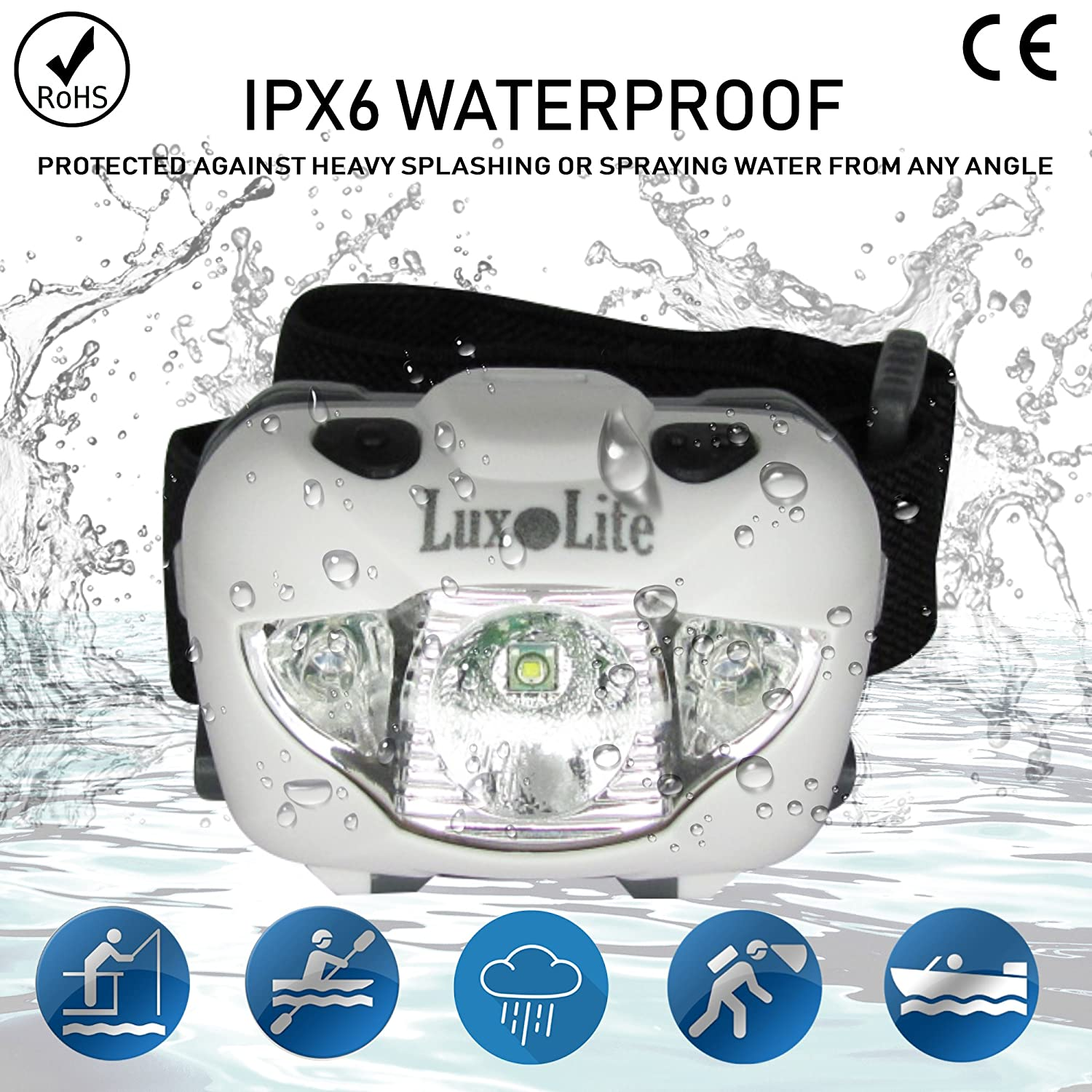 Luxolite Waterproof Head Lights LED with Red Light - Super Bright Head Torch Flashlights for Camping Hiking Running Fishing Hunting Walking Reading -...