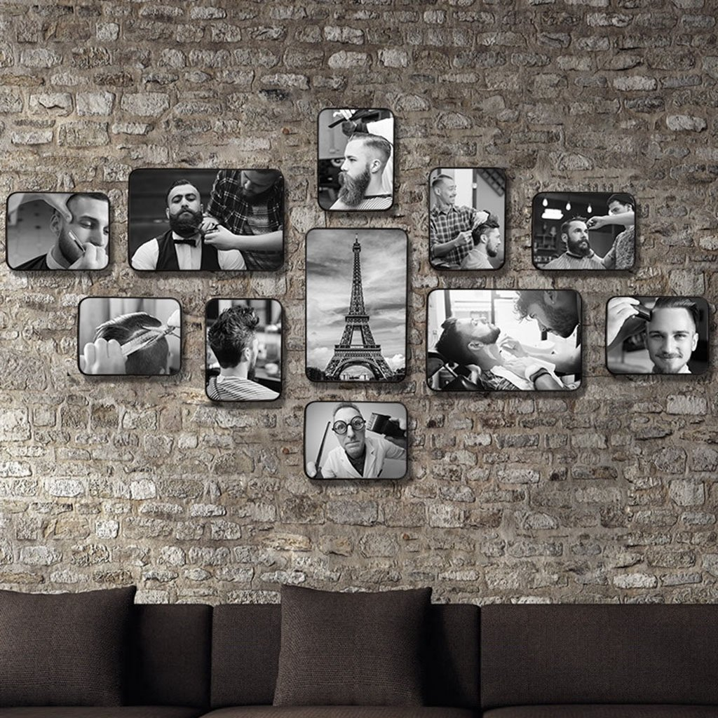 Home@Wall photo frame Retro hair salon Style Photo Frame Sets,Living Room Photo Frame Wall Creative Combination Sofa Background Frames Sets Of 11 ( Color : A , Size : 11frames/13075CM )