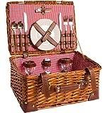 Cesta de picnic completa de porcelana Vajilla 2 personas Cesta de mimbre Cesta de picnic de mimbre Madera mimbre Cesta de picnic (LYP15022, rojo)