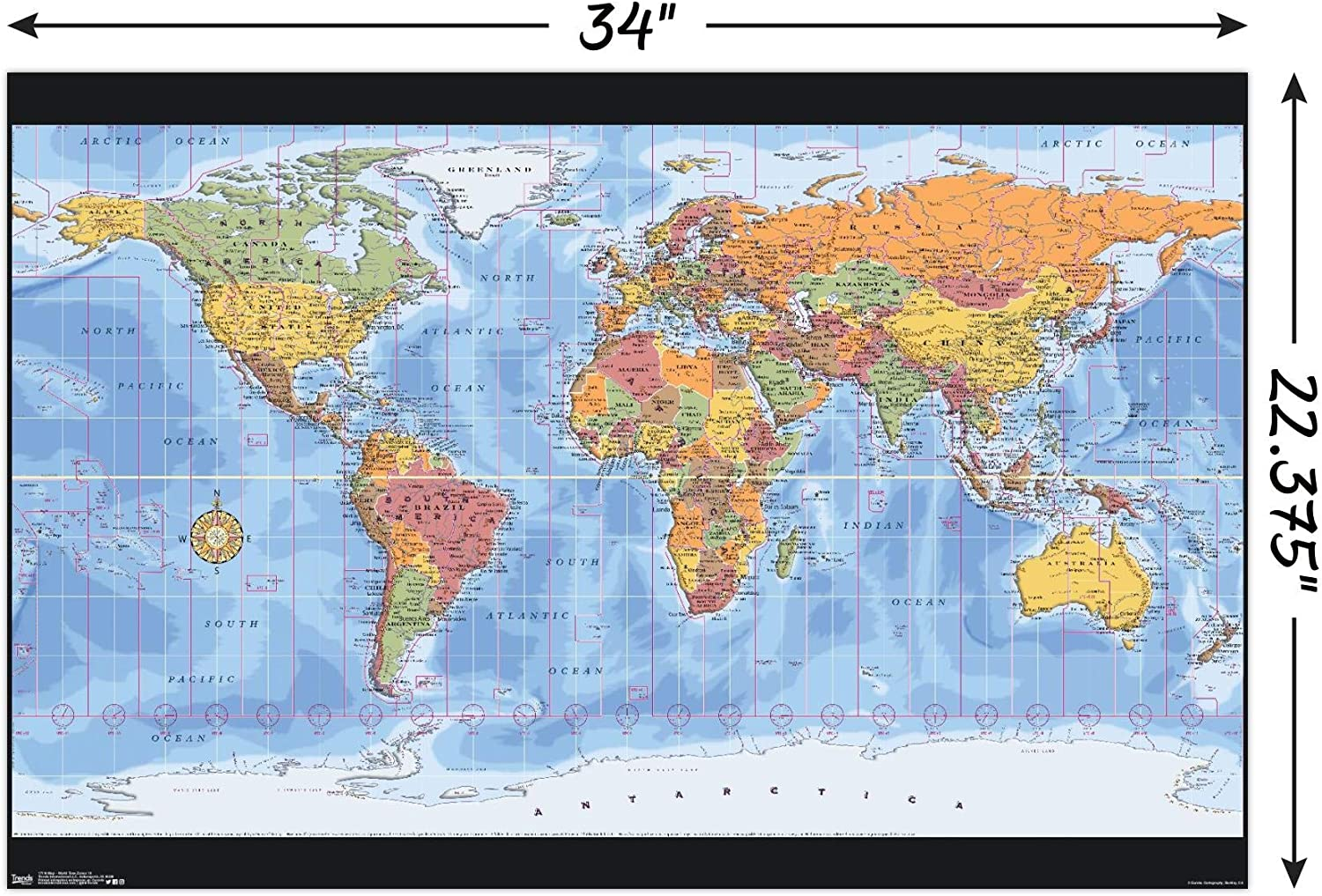 Amazon Com Trends International Map World Time Zones Wall Poster 22 375 X 34 Unframed Version Posters Prints