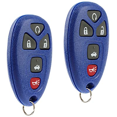 Key Fob Keyless Entry Remote fits Chevy Impala Monte Carlo/Cadillac DTS/Buick Lucerne 2006 2007 2008 2009 2010 2011 2012 2013 (Blue), Set of 2: Automotive