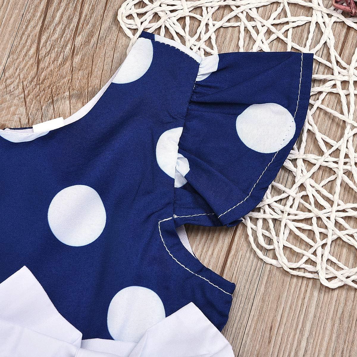 Haokaini Kids Baby Girls Blue Polka Dot Bowknot Party Dress for Infant Toddler