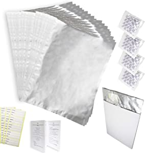 VetSeals 20pk x 5 Gallon Mylar Bags (4 in 1 Bundle) - with Oxygen Absorbers for Long Term Food Storage – Thicker (5Mil), Resealable, Light Blocking, Food Grade Bags +20x Oxygen Absorbers+ 20 Labels+ User Guide