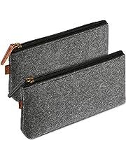 ProCase Pencil Bag Pen Case, Multi-Functional Felt Pouch Zipper Bag for Pens, Pencils, Highlighters, Gel Pen, Markers and other School Supplies -2 Pack, Black