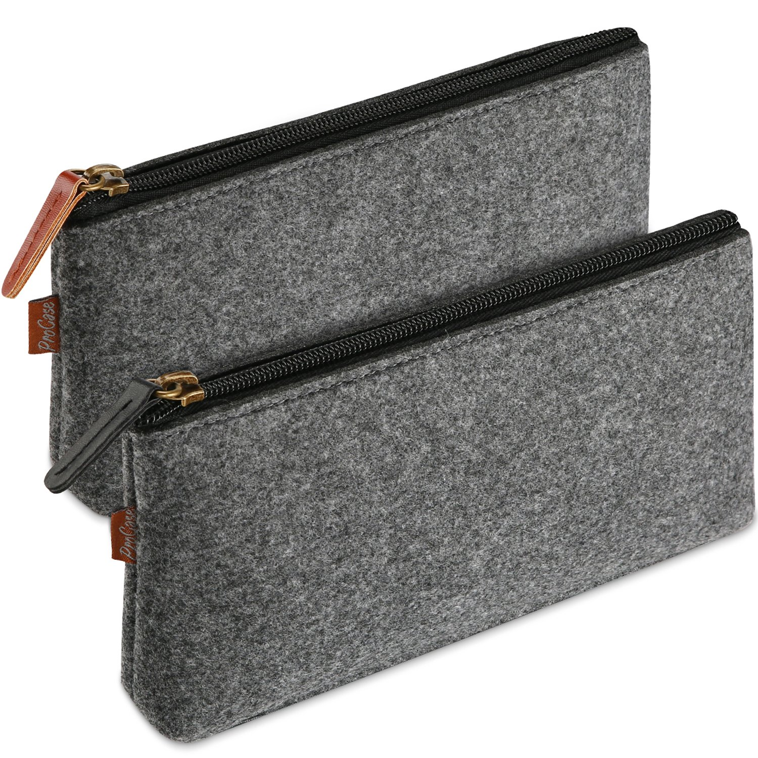 ProCase Pencil Bag Pen Case, Felt Students Stationery Pouch Zipper Bag for Pens Pencils Highlighters Gel Pen Markers and School Supplies -2 Pack, Black PC-08360442
