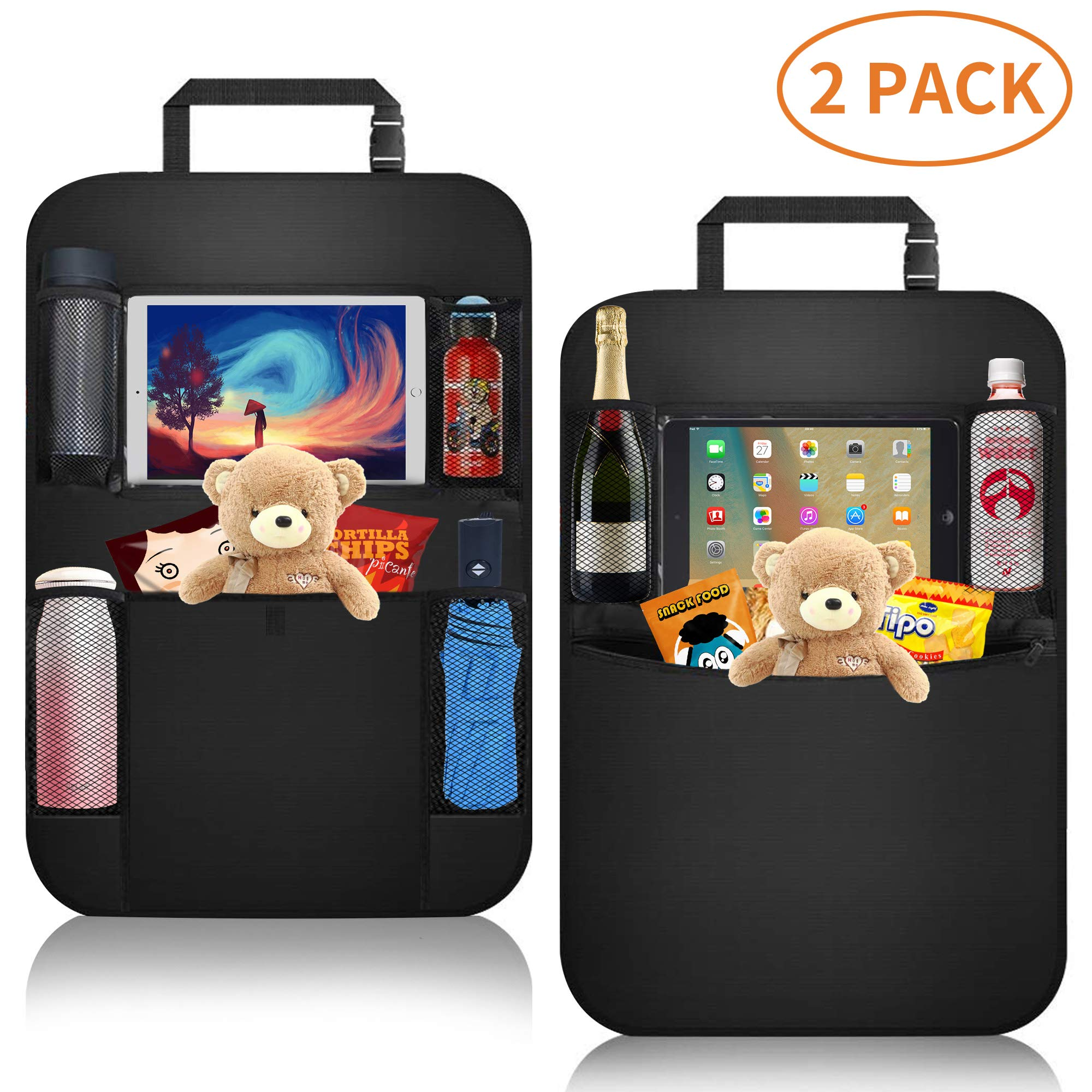 Car Organizer Back Seat,Car Back Seat Protector,Waterproof Kick Mat,Clear Touch Screen Tablet Holder for Kid/Travel with Multi Pocket,Car Seat Organizer,Car Storage Organizer with 2 Pack by KIPIDA